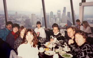 David Byrne's 'The Forest' concerts. This photo of David's vocal group was taken inside the Seattle Space Needle while we were up in Seattle for concerts with the Seattle Symphony in 1991. Personnel are (L to R): Randy Crenshaw, Susie Stevens, Mary Hylan, Scottie Haskell, Tampa Lann Murphy, Bill New (hidden behind David Joyce), David Joyce, Andy Waterman, Bob Joyce.