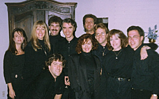 David Byrne's 'The Forest', pre-concert in Saratoga, CA, summer, 1991. Personnel are (L to R): Scottie Haskell, Darlene Koldenhoven, Bob Joyce (front), Randy Crenshaw, David Byrne, Bobbi Page, Bill New, David Joyce, Mary Hylan and the orchestra conductor (please e-mail us if you know his name)