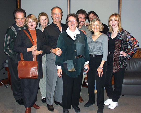 After a session for Tokyo Disney Sea, probably done back around 2000. The composers were the late Buddy Baker (famous for all of his work for Disney in the '50's and '60's) and the late Shirley Walker. Personnel (L to R): Walt Harrah, Donna Davidson Medine, Sally Stevens, Gene Merlino (vocal contractor), Shirley Walker (composer), Randy Crenshaw, Bob Joyce, Melissa MacKay and Angie Jaree.