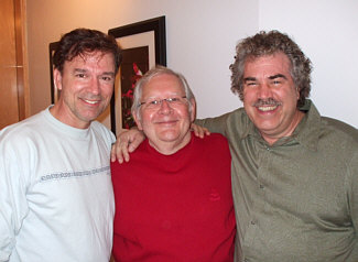 "Session singer Amick Byram, prolific composer Alf Clausen and Randy Crenshaw after singing an end credits cue for ""The Simpsons"" at L.A. Sound Gallery, May 2009."