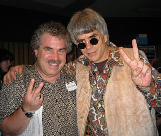"""Randy Crenshaw and David Benson, who was the co-producer of Barry Manilow's """"Greatest Songs of the 60s"""" album project. This snapshot was taken back in 2007 in the control room at Capitol Records, Studio A in Hollywood during a break in the vocal sessions for that album. David REALLY got into the 60s vibe, as you can tell by the John Lennon-type sunglasses and vest he's wearing..."""